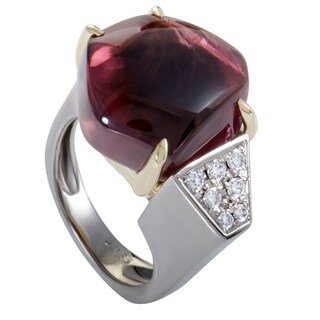 Platinum and Yellow Gold Diamond and Cabochon Pink Tourmaline Ring