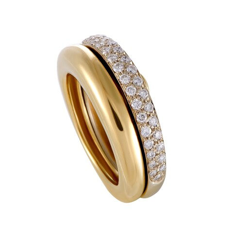 Cartier Yellow and White Gold Diamond Pave Detachable Band Ring