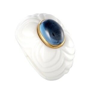 Bvlgari Chandra Yellow Gold and Topaz White Ceramic Ring