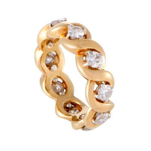 Braided Yellow Gold Diamond Eternity Band Ring