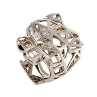 Cartier Panthere White Gold Onyx and Peridot Openwork Panther Head Ring