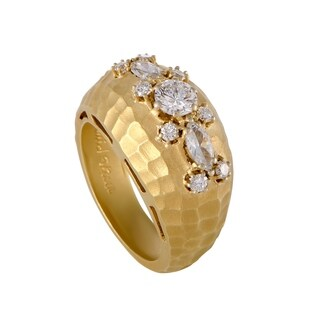 Yellow Gold Diamond Cluster Hammered Band Ring
