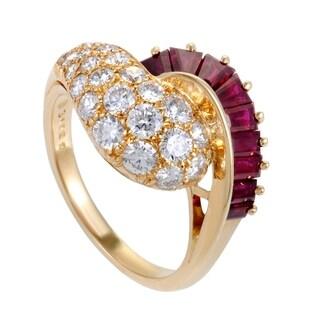 Oscar Heyman Yellow Gold Diamond and Ruby Ring