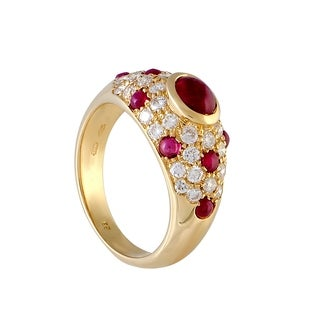 Cartier Yellow Gold Diamond and Ruby Dome Ring