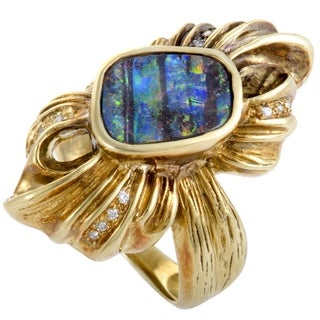 Yellow Gold Diamonds and Fire Opal Bow Ring