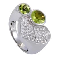 White Gold Diamond Pave and Peridot Cocktail Ring