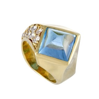 Yellow Gold Diamond and Topaz Pyramid Ring
