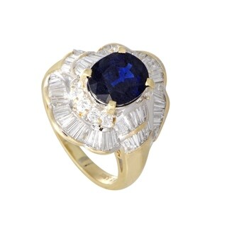 Yellow and White Gold Diamond and Oval Sapphire Cocktail Ring