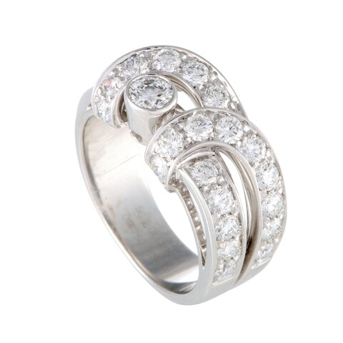 Boucheron White Gold Diamond Pave Band Ring