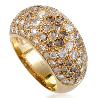 Cartier Sauvage Yellow Gold White and Brown Diamond Pave Band Ring