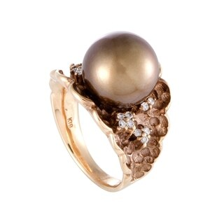 Rose Gold Diamond and 12.1mm Brown Pearl Ring