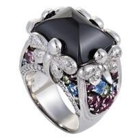 White Gold Diamond and Multi-Gemstone Onyx Ring