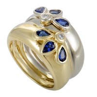 Yellow and White Gold Diamond and Sapphire Double Band Ring
