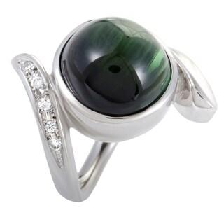 White Gold Diamond and Cabochon Green Tourmaline Ring