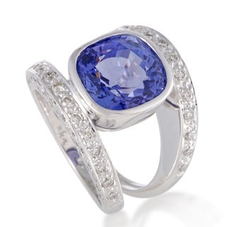 White Gold Diamond and Tanzanite Double Band Ring