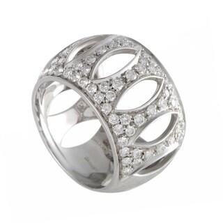 Damiani White Gold Diamond Pave Openwork Band Ring
