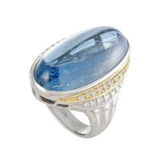 Platinum Yellow Gold Diamond and Aquamarine Cabochon Ring