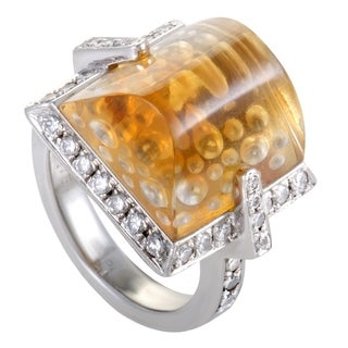 Platinum Diamond and Citrine Cocktail Ring