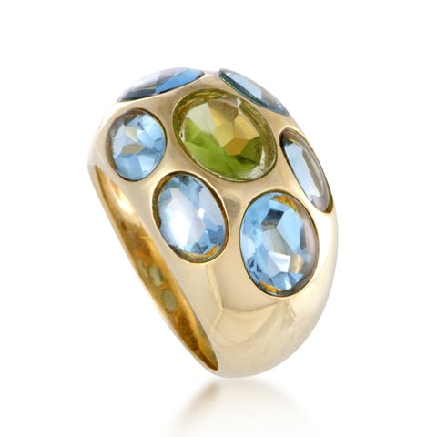 Yellow Gold Topaz and Citrine Bombe Ring