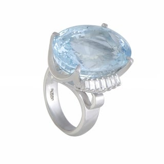 Platinum Emerald Cut Diamonds and Aquamarine Cocktail Ring