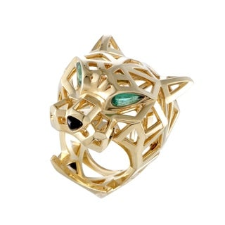 Cartier Panthere Yellow Gold Onyx and Tsavorite Openwork Ring