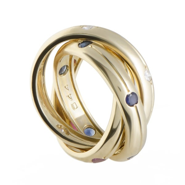 Shop Cartier Trinity Yellow Gold Diamond Sapphire And Ruby 3 Rolling