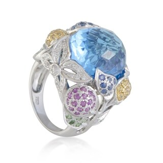 White Gold Diamond Sapphire and Topaz Cocktail Ring