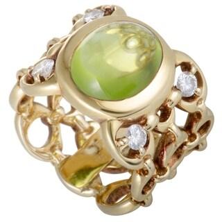 Dior Yellow Gold Diamond and Peridot Cabochon Band Ring