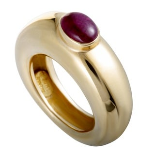 Chaumet Yellow Gold Ruby Cabochon Band Ring