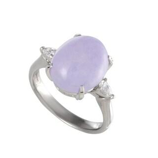 Platinum Pear Cut Diamonds and Purple Jade Cabochon Ring