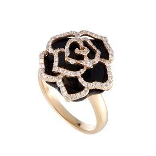 Rose Gold Diamond Pave and Onyx Rose Ring