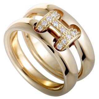 Hermès Hercules Yellow Gold Diamond H Double Band Ring