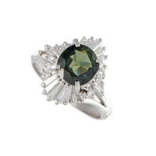 Platinum Round and Tapered Baguette Diamonds and Green Sapphire Ring