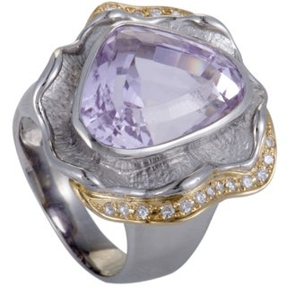 Platinum and Yellow Gold Diamond and Kunzite Cocktail Ring