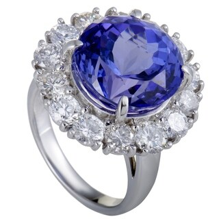 Platinum Diamond and Tanzanite Cocktail Ring