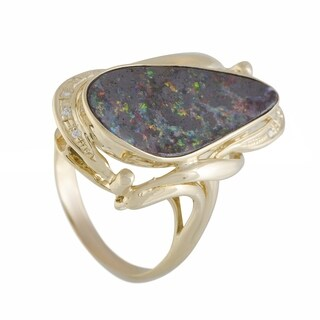 Yellow Gold Diamond and Fire Opal Cocktail Ring