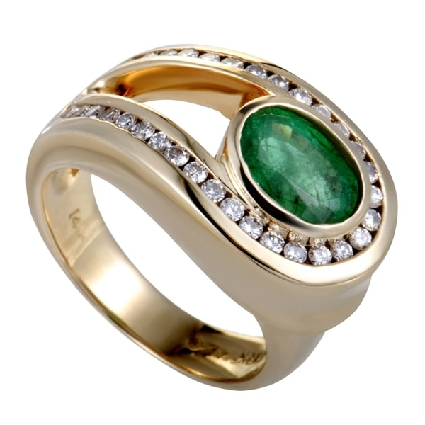 Charles Krypell Yellow Gold Diamond and Emerald Loop Ring