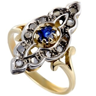 Vintage Yellow and White Gold Grey Diamonds and Sapphire Ring