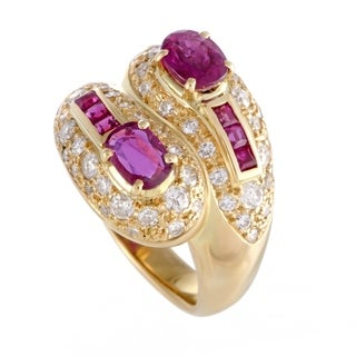 Yellow Gold Diamond and Ruby Bypass Band Ring