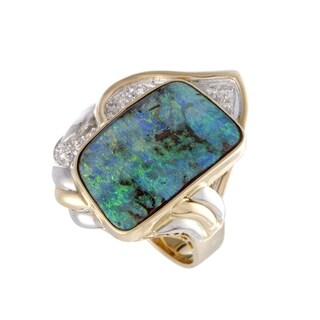 Yellow Gold and Platinum Diamonds and Green Opal Ring