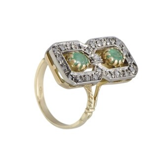 Vintage Yellow and White Gold Grey Diamonds and Emeralds Rectangular Ring