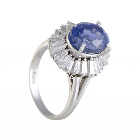 Platinum Tapered Baguette Diamonds and Oval Sapphire Ring