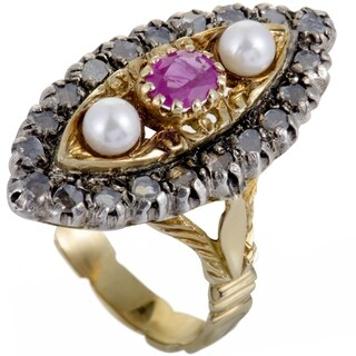 Vintage Yellow and White Gold Grey Diamonds Rubies and Pearls Ring