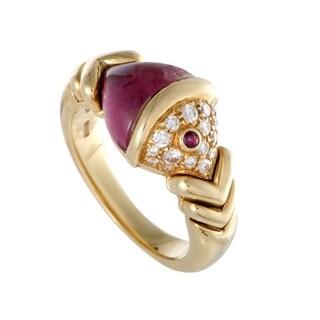 Bvlgari Naturalia Fish Yellow Gold Diamond Ruby and Pink Tourmaline Ring