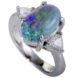 Platinum Trillion Cut Diamonds and Green Opal Ring