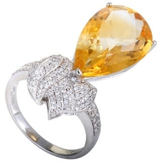 White Gold Diamond Pave Pear Shaped Citrine Cocktail Ring