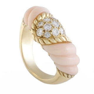 Boucheron Vintage Yellow Gold Diamond Pave and Pink Coral Band Ring