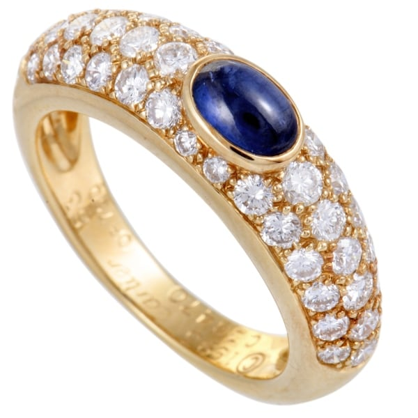 fd1eab43e Shop Cartier Yellow Gold Diamond Pave Sapphire Cabochon Band Ring ...