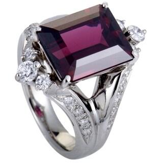 Platinum Diamonds and Rectangular Garnet Ring