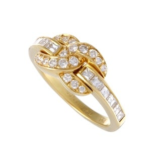 Pre-owned Tiffany & Co. Yellow Gold Diamond Pave Interlocking Ring